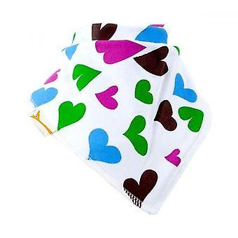 Vit, blå, grön & rosa hjärtan bandana bib