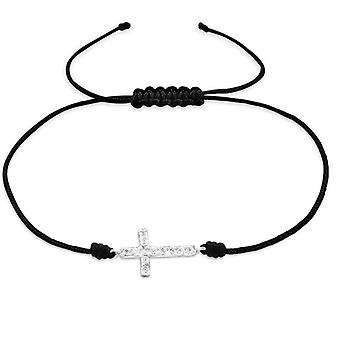 Cross - 925 Sterling Silver + Nylon Cord Corded Bracelets - W25474X