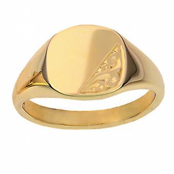9 قيراط الذهب اليد الصلبة 13x13mm منقوش وسادة الخاتم الدائري الحجم W