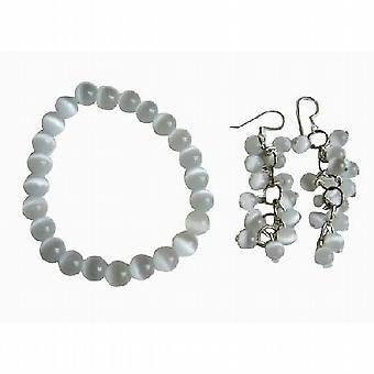 White Cat Eye 8mm Bracelet Stretchable & Earrings
