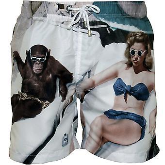 Franks Bathers Print Swim Shorts, White/multi