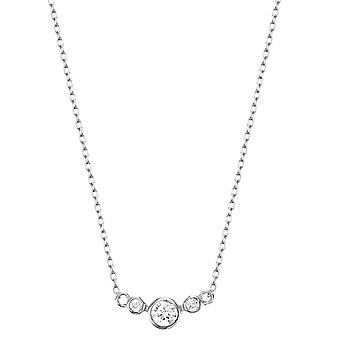Ah! Jewellery Sterling Silver Decending 3 Stone Clear Crystals From Swarovski Necklace
