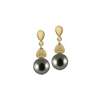 Ikuinen kokoelma Solitaire Silver Pearl Gold Tone Drop lävistetyt korva korut