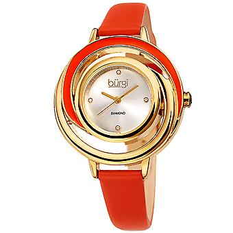 Burgi Leather Women's Watch - BUR210OR Slim Leather Strap - Three Hand Movement with Diamond Markers - Floating Enamel Dial - Round Analog Quartz - BU