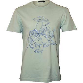 Ranskan yhteys Iguana avaruus alus kirjailtu Design T-paita, Aqua vaahto