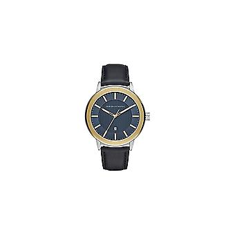 Armani Exchange Mens 'Maddox' Round Blue Date Dial Blue Leather Strap Watch