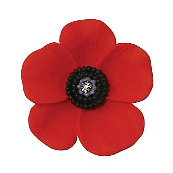 Eternal Collection Poppy Red And Black Enamel Silver Tone Maxi Brooch