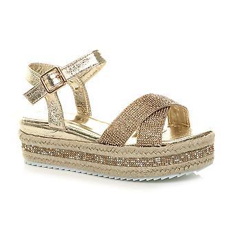 Ajvani dames mid sleehak Diamante flatform Strap espadrille platform sandalen