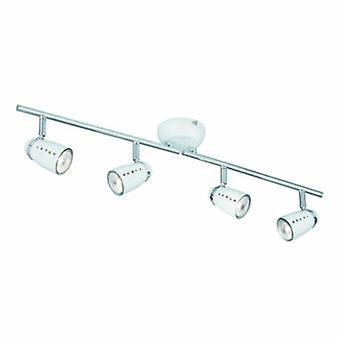 4 luz ajustável teto Spotlight bar cromado, branco