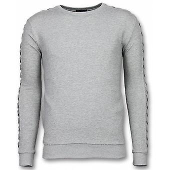 Casual crewneck-trançado camisola-cinza