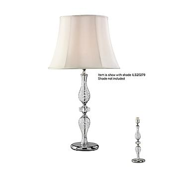 Diyas Albas Crystal Table Lamp Without Shade 1 Light Silver Finish