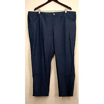 IMAN Petite Pants 3XP Skinny Leg Buttoned Pocketed Blue Womens