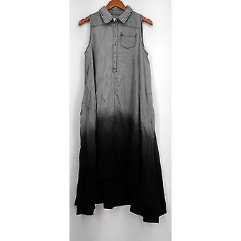 OSO Casuals Dress Hi Lo Woven Dip Dye Shirt Sleeveles Gray / Black A432923