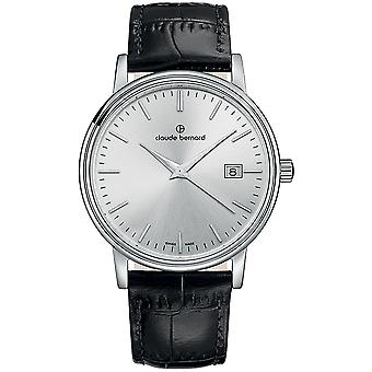 Claude bernard sophisticated swatch for Unisex Analog Swiss Quartz with Cowskin Bracelet 53007 3 AIN