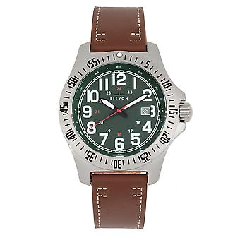 Elevon Aviator Leather-Band Watch w/Date - Brown/Green