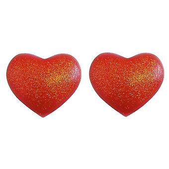 Silicone Heart Nipple Covers Red with Gold Glitter - Heart Shape