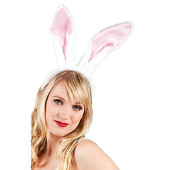 Womens Large Pinks And White Bunny Rabbit Ears Fancy Dress Costume Accessory