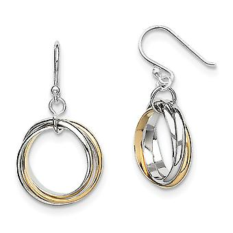 925 Sterling Silver Polished Shepherd hook Rhodium plated Gold Flashed Triple Circle Long Drop Dangle Earrings Jewelry G