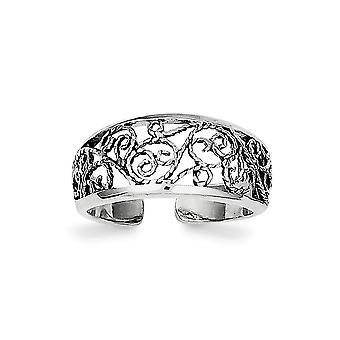 925 Sterling Silber solide Rhodium vergoldet Finish Floral Zehen ring Schmuck Geschenke für Frauen - 1,6 Gramm