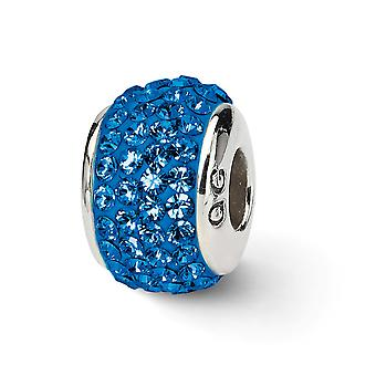 925 Sterling Silber poliert Reflexionen Medium blau voller Kristall Perle Anhänger Anhänger Halskette Schmuck Geschenke für Frauen