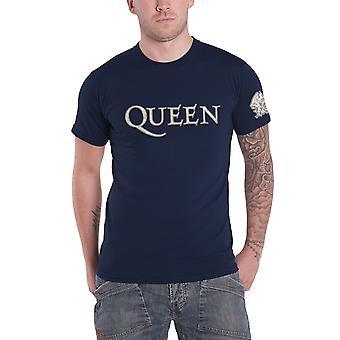 Queen T Shirt band Logo & Crest applique new Official Mens Navy Blue