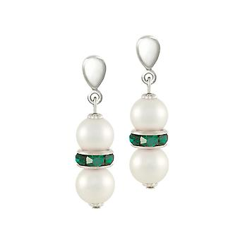 Eternal Collection Kaleidoscope Emerald Green Crystal Shell Pearl Silver Tone Drop Clip On Earrings