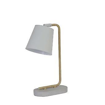 Ljus & levande vit betong och trä lampa 25x14x45cm Salaun bordslampa