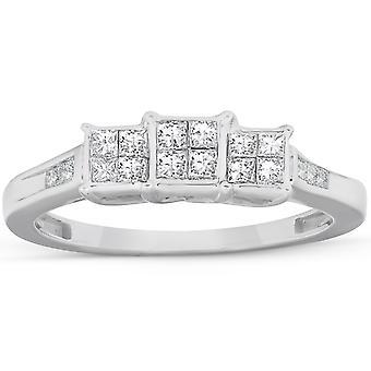 1/2 Ct الأميرة قطع الماس ثلاثة حجر خاتم الخطوبة 10k الذهب الأبيض