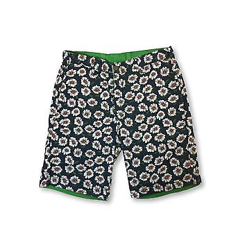Tailor Vintage reversible shorts in daisy print/green