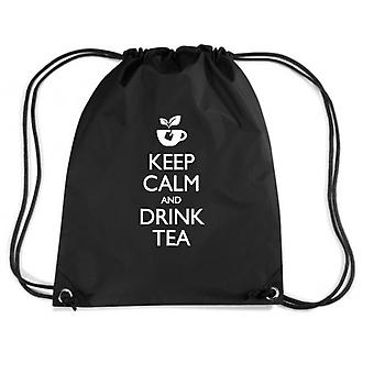 Zainetto nero wes0277 keep calm and drink tea