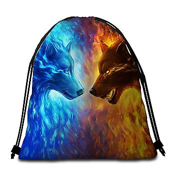 Water vs Fire Wolfs Beach Towel