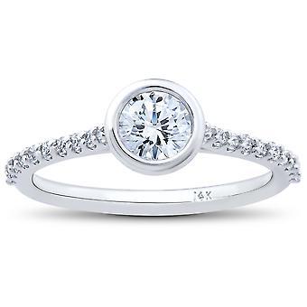 3/4ct Charlotte Lab Created Diamond Engagement Ring 14k White Gold
