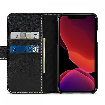 Case For iPhone 11 Black Grained Card Holder In True Leather