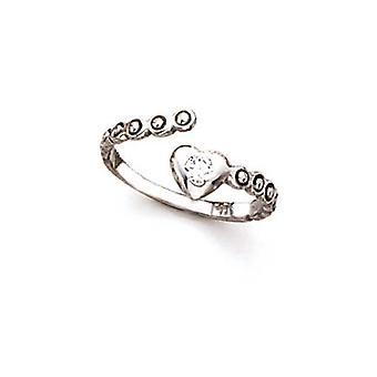 14k White Gold Love Heart CZ Cubic Zirconia Simulerade Diamond Toe Ring Smycken Gåvor för kvinnor