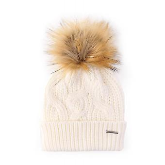 Rino & Pelle Aaf Cable Knit Beanie With Interchangable Pom