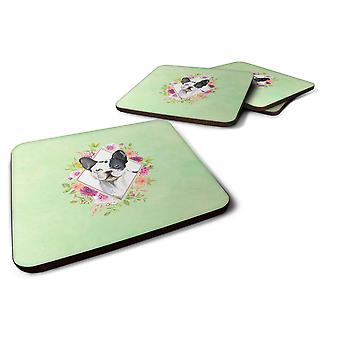 Set of 4 Black and White Frenchie Green Flowers Foam Coasters Set of 4