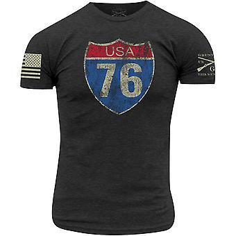 Grunt stil rute 76 T-skjorte-mørk grå