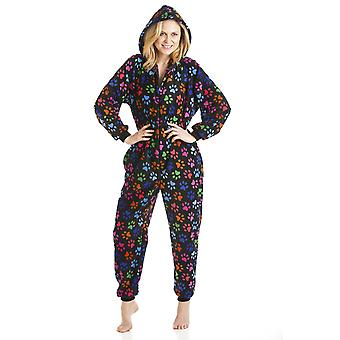 Camille Soft Black Multi-Coloured Paw Print Onesie