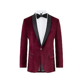 Twisted Tailor miesten viininpunainen smokki illallinen takki laiha sovi sametti kontrasti huivi käänne