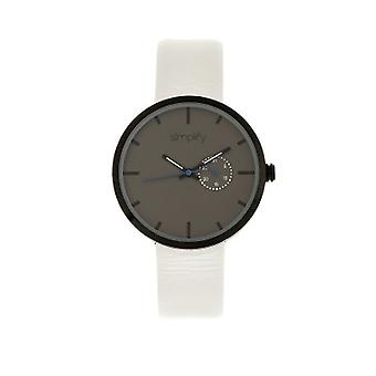 Simplifier la montre de bracelet en cuir 3900 w / Date - blanc