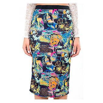 Graphic Print Bodycon Midi Skirt