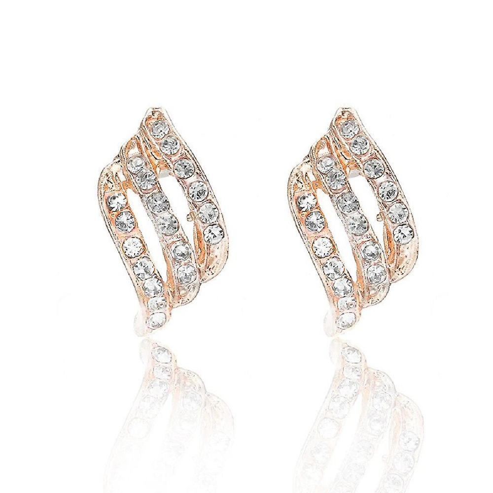 Curled Gold Crystal Stud Earrings