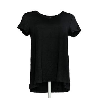 H by Halston Women's Top V-Neck Forward Notch Detail Black A306231
