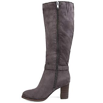 Brinley Co Comfort Womens Side Strap Riding Boot Grey, 10 Extra Wide Calf US