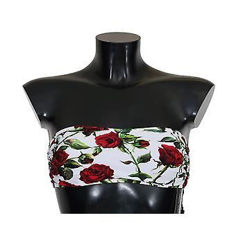 Dolce & Gabbana White Red Roses Bandeau Bikini Top