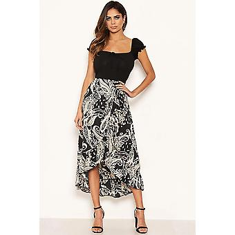 Contrasting 2 in 1 Frill Detail Dress