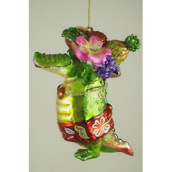 Tropical Dressed in Fruit Filled Hat Alligator Christmas Holiday Tree Ornament