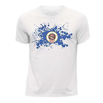 STUFF4 Pojan Pyöreä kaula T-paita / / Minnesota USA-osavaltion lippu Splat/valkoinen