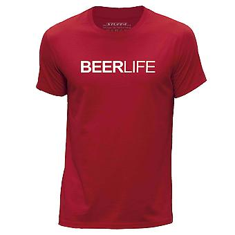 STUFF4 Hombres's Round Neck Camiseta/Beer Life / Lager/Red