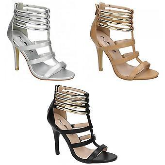 Anne Michelle Womens/Ladies Open Toe Metal Detail High Heels
